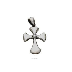 14K White Gold Diamond Polished Cross Pendant