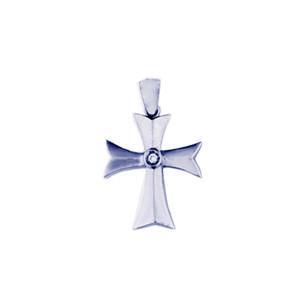 White Gold Diamond Cross with One Round Diamond