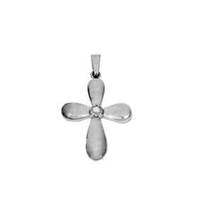 High Polish Diamond Cross in 14K Yellow or White Gold