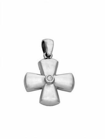 14K Diamond Stylish Polished Cross Pendant